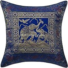 Stylo Cultura Algodón Funda de Cojín Tradicional Brocado Auto Diseño 16x16 Azul Elefante Funda de Almohada