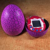 BIMAGE Pet Electronic Game Console, Crack Egg Digital Pet Tumbler Toys Virtual Electronic Game Console For Keychain (Purple Egg)