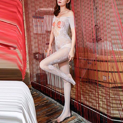 Liusdh damen strümpfe Sexy durchbrochene kalte Schulter net Dessous einteilige Bodystockings(White,Free Size) -