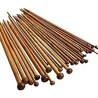 JZK® Crochet bambou crochets Set aiguilles à tricoter tissage ensemble d'outils, 36 pièces = 18 paires, 18 dimensions, 36 cm de longueur, 36 pcs set = 18 paires, 18 dimensions, 36 cm de longueur