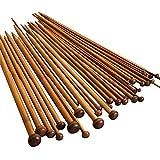 JZK® Crochet bambou crochets Set aiguilles à tricoter tissage ensemble d'outils, 36 pièces = 18 paires, 18 dimensions, 36 cm de longueur, 36 pcs set = 18 paires, 18 dimensions, 36 cm de longueur...