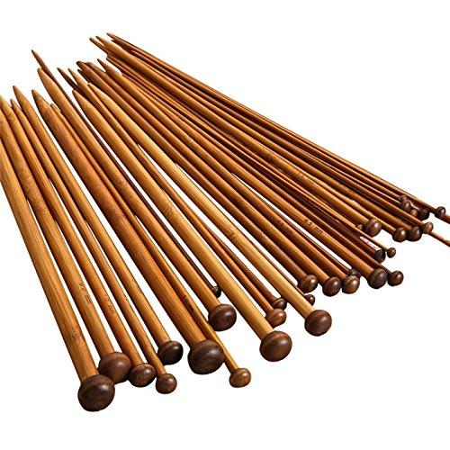 JZK® 18pairs/ 36pcs Professional Stricknadel Bambus Set 2.0-10.0mm Doppelspitzig Handarbeit Knitting Needles Crochet Hooks (36 x Bambus)