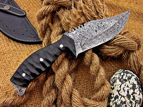 Custom Handmade Damascus Raindrop Pattern Tracker 10.5'' with Beautiful File Work and Leather Sheath (Tracker Knife Damascus)