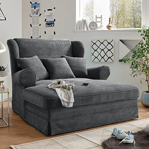 Design XXL Loveseat Sessel MELBOURNE anthrazit Cord mit Kissen Ohrensessel Wohnzimmersessel