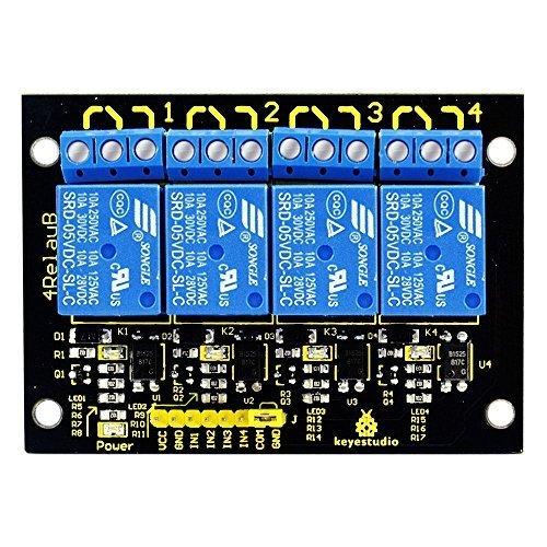 KEYESTUDIO Relaismodul 4-Kanal 5V für Arduino MEGA 2560 R3 / Raspberry Pi/Avr/STM 32 i/Avr/STM 32 -