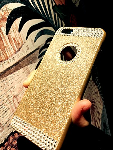 Custodia iPhone 7 Glitter, iPhone 7 Cover Silicone, SainCat Cover per iPhone 7 Custodia Silicone Morbido, Custodia Bling Glitter Strass Diamante Rhinestones 3D Design Ultra Slim Silicone Case Ultra So Doro #1