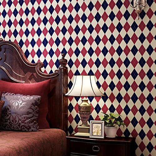 Engels Doos Diamant Plaid Gestreepte Vlakte Papier Behang High-End Woonkamer Sofa Achtergrond Behang (Diamant-gewicht Papier)