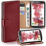 moex Samsung Galaxy S4 Active | Hülle Dunkel-Rot mit Karten-Fach 360° Book Klapp-Hülle Handytasche Kunst-Leder Handyhülle für Samsung Galaxy S4 Active Case Flip Cover Schutzhülle Tasche