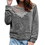 Kapuzenjacke Damen MYMYG Herbst Winter warme Flauschige Top Sweatshirt Pullover Jumper Bluse Mantel Winter Tops Langarm Spitzenkragen SAMT Bluse (Grau,EU:38/CN-L)