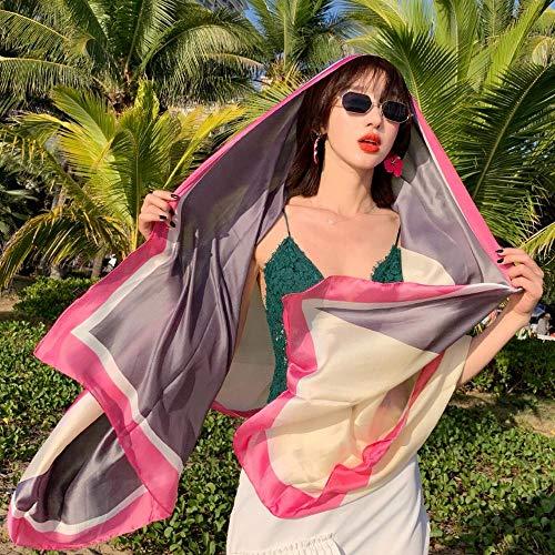 Sfqhc Schal Für Damen Sommer Schal weibliche Sonnencreme Seidenschal dünne Küste super große Strandtuch Schal Stil 3 -
