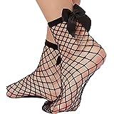 2 paia di calzini corti da donna con volant a rete in pizzo e rete di pesce, con perline in pizzo e rete di pesci.