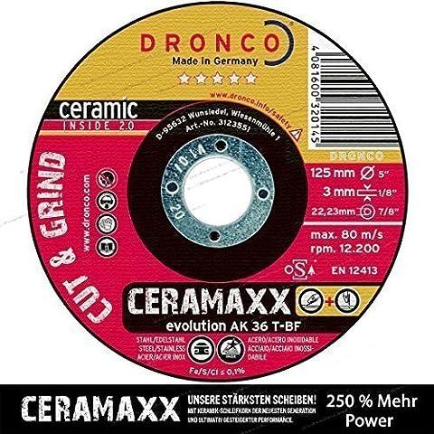 Dronco AK 36 T-BF 115/125mm 3mm Evolution Ceramaxx sosefo- et Lame avec Grain en céramique le plus récentes Génération Gites d'affûtage 250% énergie - 1 Pièce, 125 Ø Cer.