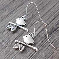 Minimal Bird on a Branch Earrings in Silver tone, includes Gift Box