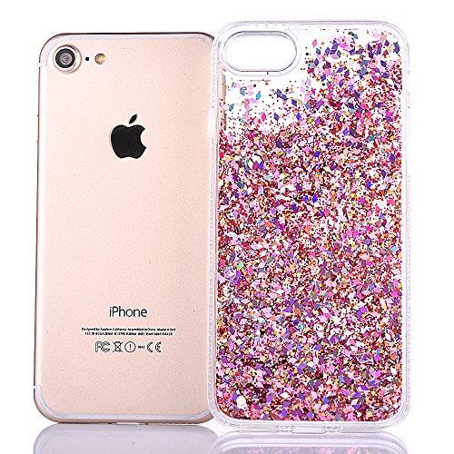 """iPhone 6s Hülle, iPhone 6 Handytasche, CLTPY 3D Dynamisch Treibsand Flüssige Fließend Glitzer Sparkle Diamant Hartplastik & Soft TPU Hybrid Transparent Schale Case für 4.7"""" Apple iPhone 6/6s + 1 x Gri Rosa"""