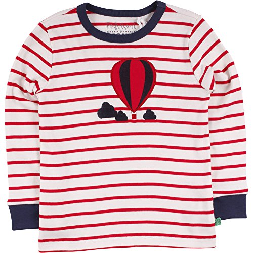 Fred's World by Green Cotton Jungen T-Shirt Balloon Stripe T, Elfenbein (Cream/Red 019800001), 116 (Herren Cotton Stripe)