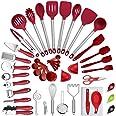 42 Pièces Set d'Ustensiles de Cusine en Silicone, Kit Ustensiles de Cuisine en Acier Inoxydable, Set d'Ustensiles de Cusine E
