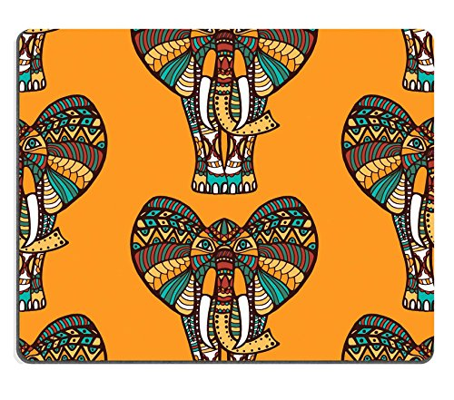 luxlady Gaming Mousepad-ID: 44419671afrikanischen Nahtlose Muster mit Elefanten auf Orange Hintergrund und die Nahtlose Muster in Swatch Menu Vector illustration