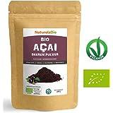 Açaí Beeren Pulver Bio [ Gefriergetrocknet ] 200g   Pure Organic Acai Berry Powder (Freeze-Dried)   100% aus Brasilien, Getrocknet, Rohkost und Extrakt aus Pulp der Acai-Beeren Frucht   NATURALEBIO