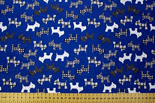 Royal Blau Polycotton Stoff mit schwarz & weiß Scottie Hunde (Meterware)... -