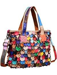 Heshe Women's Hobo Soft Multi-color Tote Bag Hobo Cross-body Bag Shoulder Bag Handbag And Purses Personality Simple...