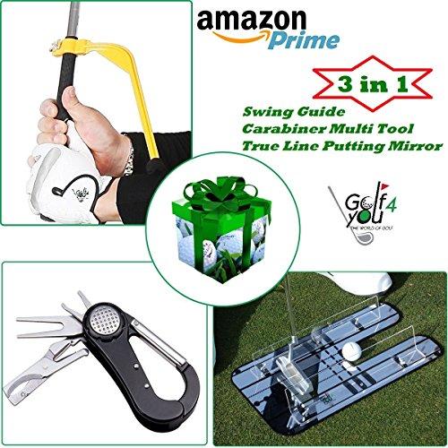 Set Regalo da Golf (Attrezzatura da Allenamento e Accessori per borse da Golf): 1 Golf Specchio di Allineamento + 1 Golf Strumento di correzione dell'oscillazione + 1 Golf Accessorio multi-funzionale