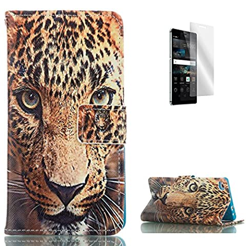 HUAWEI P8 PU Leather Wallet Case [with Free Screen Protector],KaseHom Cool Fashion Colourful Design Folio Book Style Magnetic Closure Stand Function with Card Slots and Cash Holder Shockproof Synthetic Faux Leather Full Body Protective Flip Case Cover Skin Shell for HUAWEI P8 - Tiger