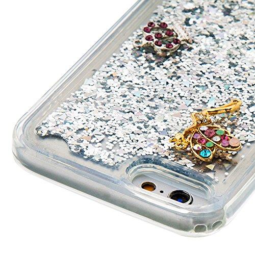 MOONCASE iPhone 6S Hülle, Bling Glitzer [Lips] Muster Strass Flüssiger Schutzhülle für iPhone 6 / 6S (4.7 inch) Weiche Silikon Soft Gel TPU Case Back Cover Silber 02 Silber 03