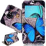 SmartLegend Etui Coque pour Samsung Galaxy A5 (2016) Fenêtre Case Pochette Protection PU Cuir Wallet Flip Etui Housse à Rabat Magnétique Fonction Stand Anti Choc Fine Fente Carte Encastrée - Papillon Bleu