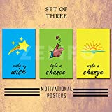 Zemfo Exclusive - Motivational Poster Collection - Set Of Three Creative And Inspirational Quotes - Make A Wish | Take A Chance | Make A Change | Perfect Poster Collection For Home, Work, Office And Study Room. (12x18 Inches WITHOUT FRAME)