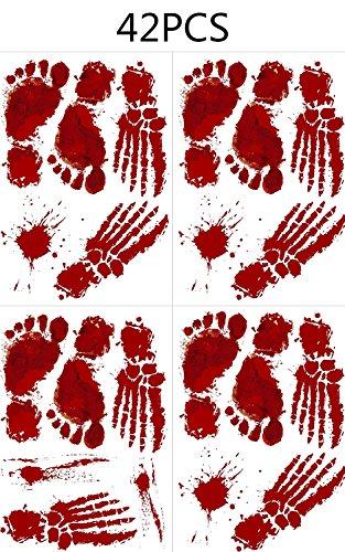 42PCS Blutige Abdrücke Handabdruck-Klammern Blutige Fuß-Drucke Fußboden-Dekorationen Halloween Vampirs Zombie Dekorations Abziehbild Aufkleber Versorgungsmaterialien