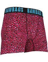 Mens Bawbags Leopard Boxers Pink