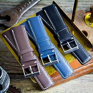 Correa de reloj Geckota® cuero genuino Acolchado Cepillado Cierre, 18, 20, 22, 24mm marca Geckota