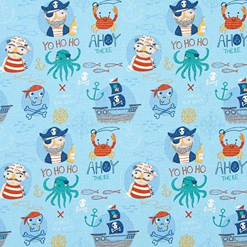 Fabulous Fabrics Baumwollstoff Cretonne AHOI Piraten – hellblau — Meterware ab 0,5m — Oeko-Tex Standard 100 Produktklasse I — zum Nähen von Kinder, Vorhänge und Kissen