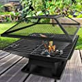 Bargains-galore Square Fire Pit Bbq Grill Heater Outdoor Garden Firepit Brazier Patio Outside by NT
