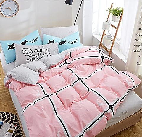 D&F Literie 4 PièCes,Impression NuméRique 100% Coton 200x230cm Couvercle , 3 , Small bed sheets