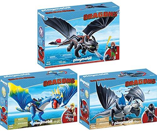 Preisvergleich Produktbild PLAYMOBIL® Dragons 3er Set 9246 9247 9248 Hicks und Ohnezahn + Astrid und Sturmpfeil + Drago mit Donnerklaue