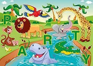 Lot de 6 cartes d'invitation «animaux de zoo marrants fête pour anniversaire d'enfant au zoo ou de fête/enfant-invitation anniversaire pour filles et garçons.