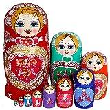 SWECOMZE Nesting Puppe Matroschka Russische Puppe Geschenk Matrjoschka-Marke 10 Stücken (Mädchen)