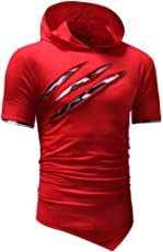 Mose Men's Hooded T-Shirt Personality Pure Color Hoodie Sport Short Sleeve Shirt Top Blouse