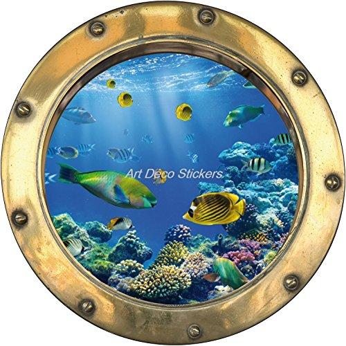Wandtattoo Bullauge, optische Täuschung, Dekoration, Motiv: tropische Fische, 30x30cm