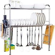 Rubik Stainless Steel Adjustable Dish Drainer Rack Utensil Holder, Kitchen Storage Shelf, 2-Tier Over The Sink Dish Cutlery D