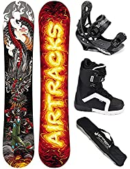 AIRTRACKS SNOWBOARD SET - TABLA DRAGON SOUL ROCKER 158 - FIJACIONES SAVAGE - BOTAS STRONG 45 - SB BOLSA/ NUEVO