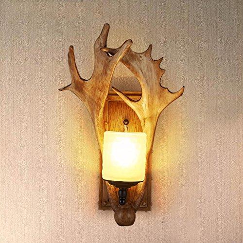 DZW Nordic Rétro Style Industriel Marbre Applique Creative Animal Antlers Modélisation Mur Lampe Loft Bar Restaurant Éclairage, Source de Lumière E27 * 1, Taille 34 * 48 cm,Simple