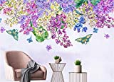 Yosot 3d Nordic Classic Mode Tapete Einfach Handbemalten Lila Blume Schmetterling Tv Hintergrundbild-200Cmx140Cm
