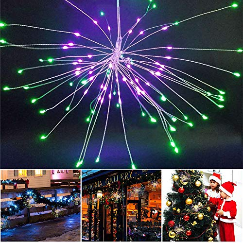 Feuerwerk LED Lichter,8 Modi 120 LED Kupfer Fairy Feuerwerk Starburst Licht,Batteriebetrieben Fernbedienung Blumenstrauß Lichter für DIY Party Decor Weihnachten Halloween Hochzeit. (150 LED)