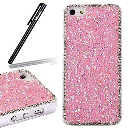 Custodia per iphone 5C, iphone 5C Custodia Rigida, Cover per iphone 5C, Ukayfe Bellezza lusso Shiny Sparkle Bling Bling scintillio Artigianato di cristallo [strass Diamante] Custodia protettiva in pla rosa