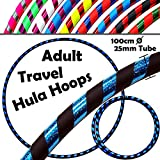 PRO Hula Hoops (UltraGrip/Glitter) Travel Hula Hoop - Fitness Adulte Voyage Pliable Hula Hoop Pondéré, Pour Aerobic et Hoop Danse (Diam:100cm, Lesté:640g) (Noir / Bleu Glitter)