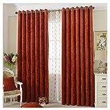 1er-Pack Verdunklungsgardine Ösenvorhang Blickdicht Vorhänge für Wohnzimmer Büro Balkon (BxH 140x225cm, orange-rot)