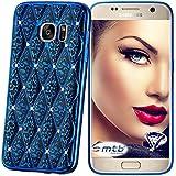 mtb more energy® Coque Glamour pour Samsung Galaxy S7 Edge (SM-G935) | bleu métallisée | souple | Gel TPU briller bijou housse étui de protection