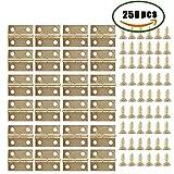 Dayree 50 Stück Mini Scharnier Schrank Schublade Messing Scharnier mit 200 Stück 5mm Ersatz Schrauben für Möbel, Puppenhaus, Schrank